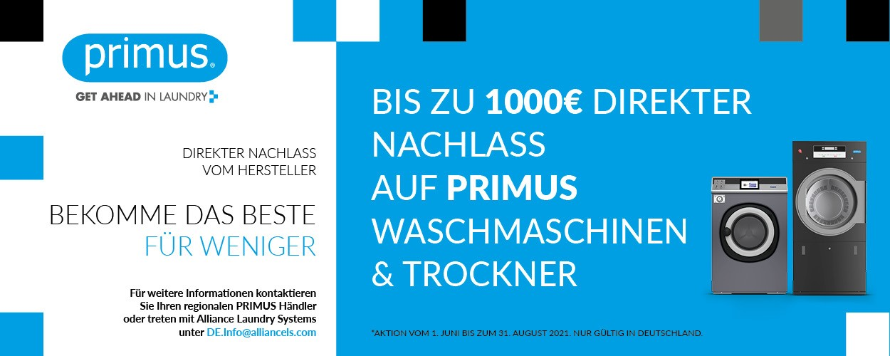 BIZ ZU 1000€ DIREKTER NACHLASS AUF PRIMUS WASCHMASCHINEN & TROCKNER